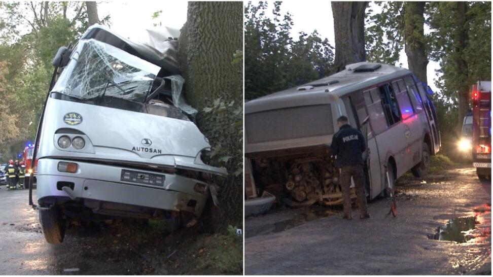 Autobus uderzył w drzewo. Cztery osoby trafiły do szpitala
