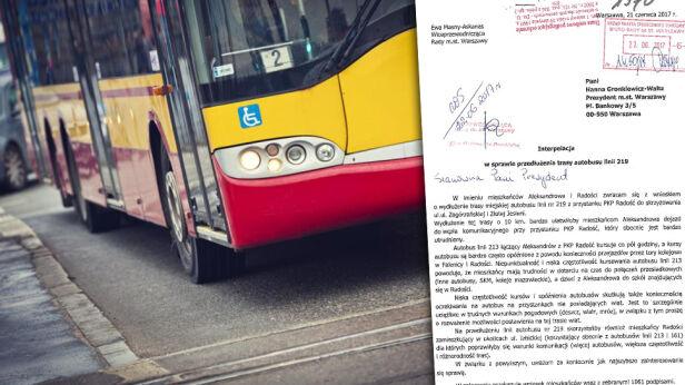 Apelowali o wydłużenie autobusu linii 219 ZTM