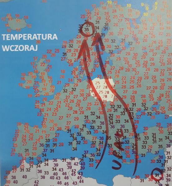Sobotnia temperatura w Europie