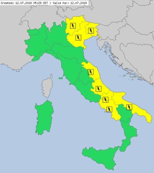 Ostrzeżenia meteorologiczne dla Włoch na piątek (meteoalarm.eu)
