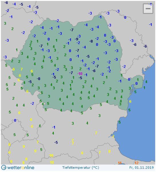 Najniższa wartość temperatury 1 listopada w Rumunii (wetteronline.de)