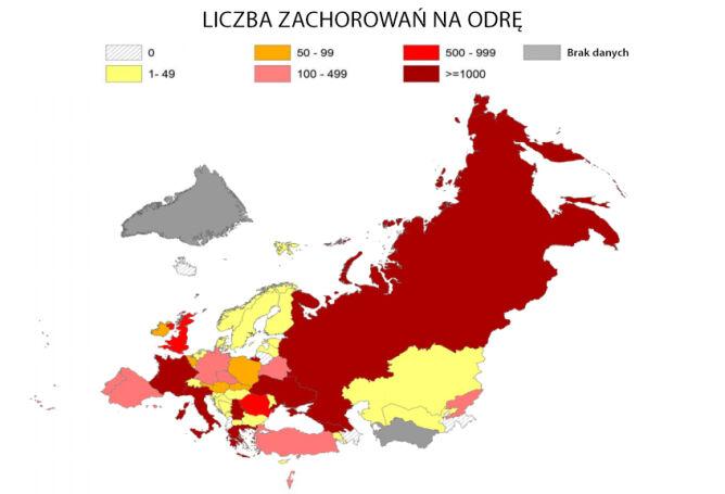 Liczba zachorowań na odrę w okresie styczeń-czerwiec 2018