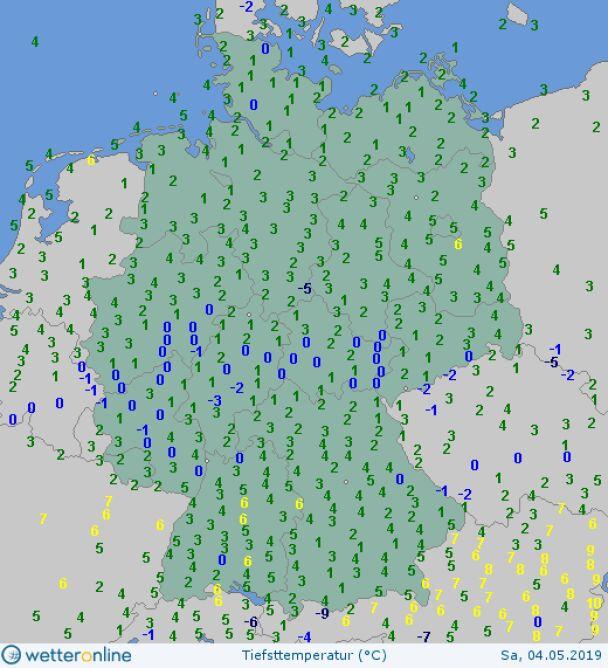 Najniższy temperatury w Niemczech w sobotę (wetteronline.de)